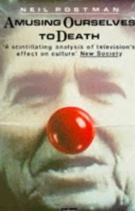 http://www.amazon.com/Amusing-Ourselves-Death-Neil-Postman/dp/0413404404/ref=sr_1_2?s=books&ie=UTF8&qid=1387222011&sr=1-2&keywords=amusing+ourselves+to+death