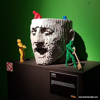 The Art Of The Brick THINK! model head with small figures busy inside LEGO brick model exhibition review