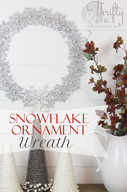 Snowflake ornament Christmas wreath made from made from the packages of snowflakes found at Target or Walmart