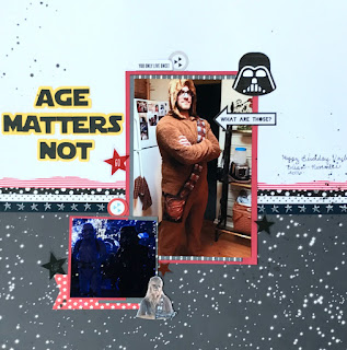 Star wars scrapbook layout featuring Simple Stories - Freckled Fawn - Heidi Swapp and the silhouette cameo