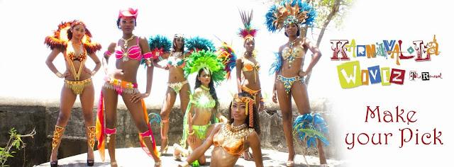 5 danseuses en tenue de carnaval