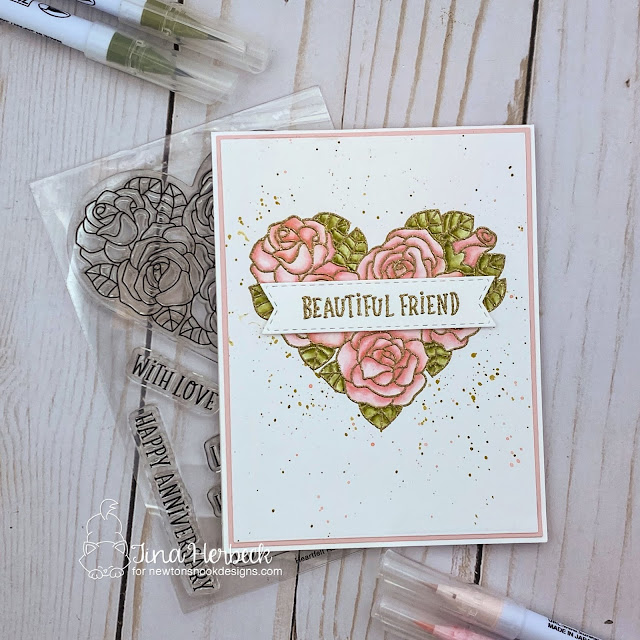 Beautiful Friend card by Tina Herbeck | Heartfelt Roses Stamp set, and Banner Trio Die Set by Newton's Nook Designs