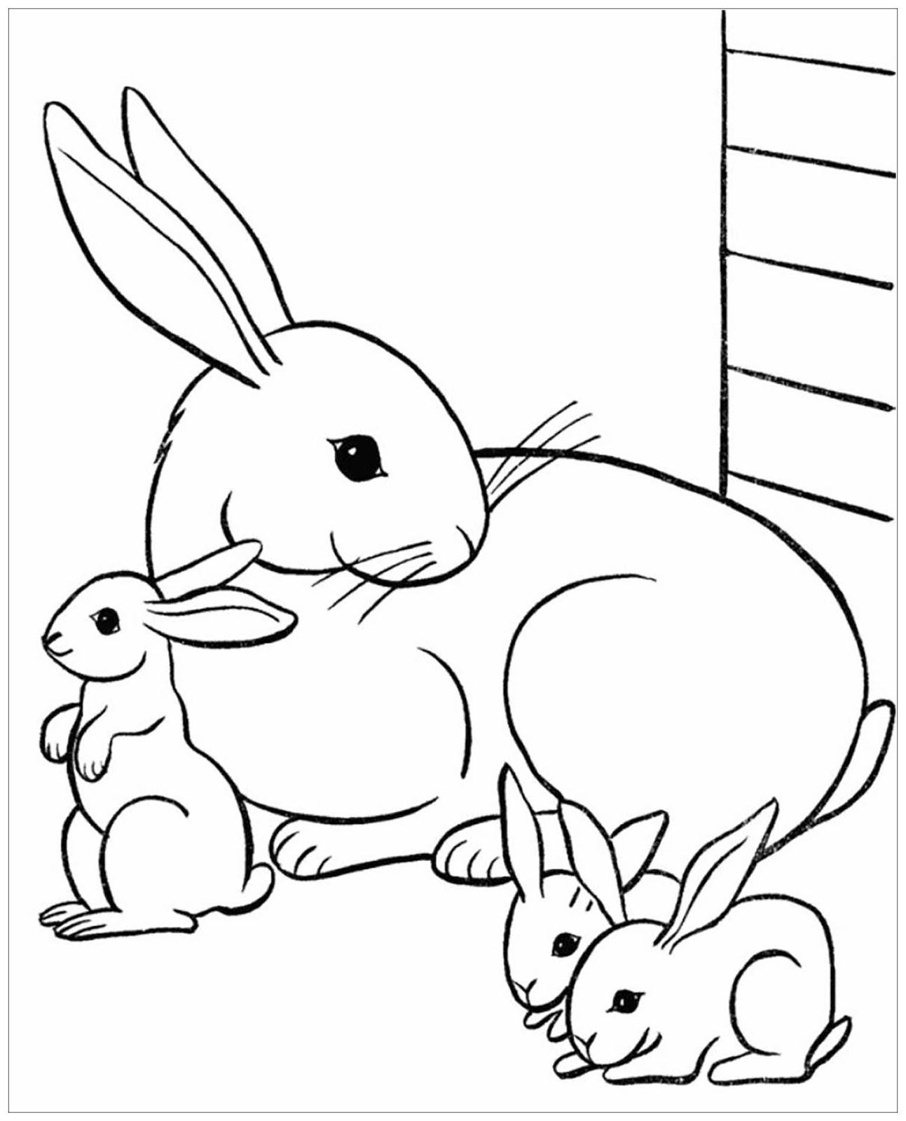 Tranh tô màu thỏ mẹ và ba chú thỏ con