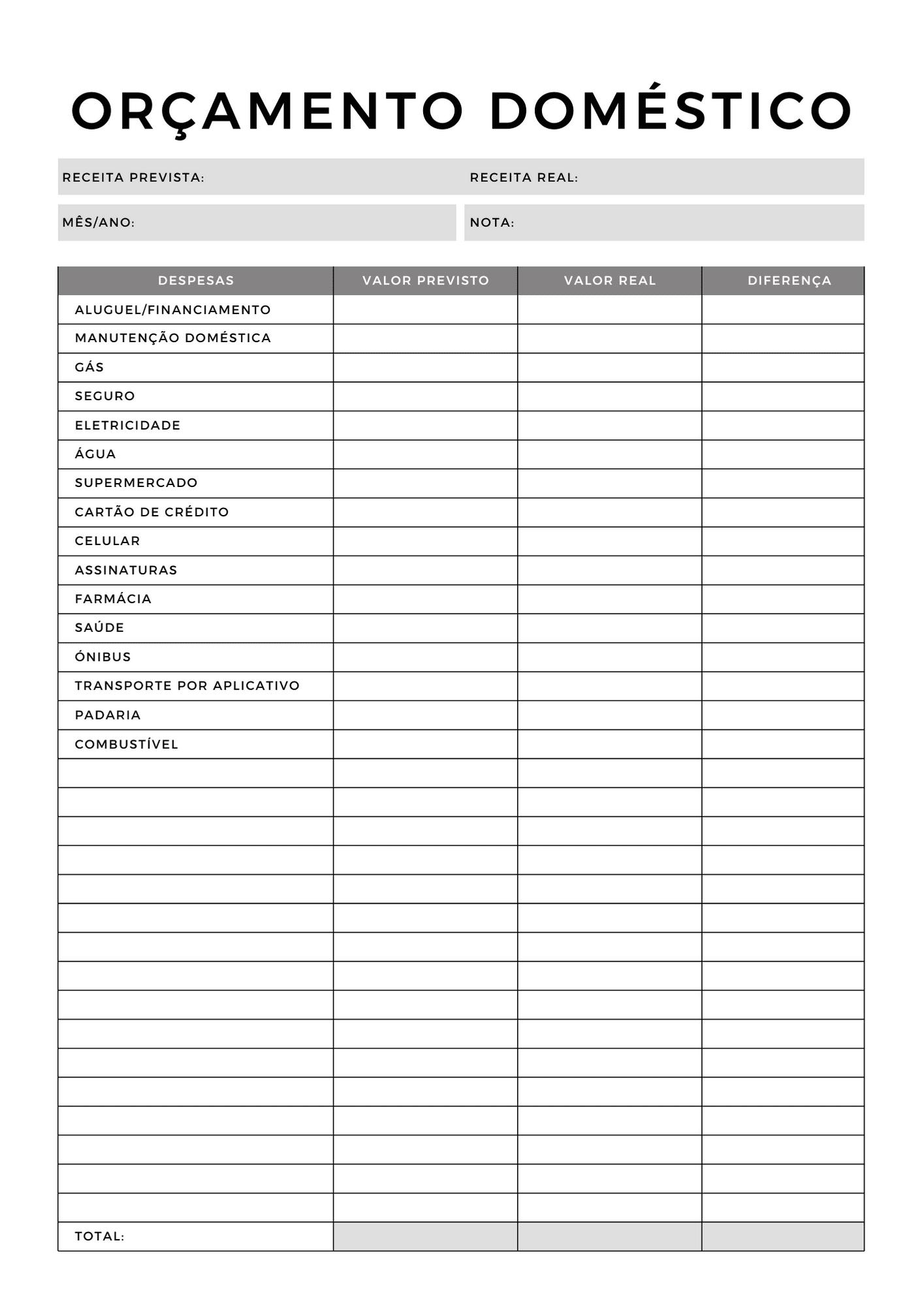 Folha de orçamento para imprimir grátis