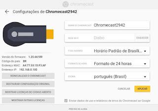 Google Cast extensão do ChromeCast