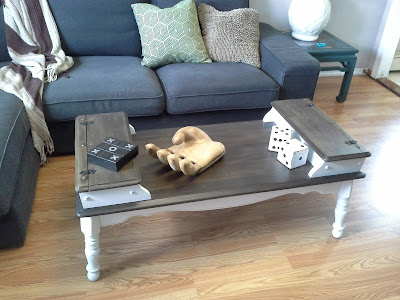 coffee table white vinegar stain cubbies country rustic