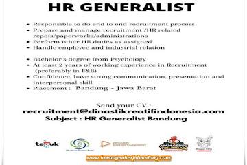 Lowongan Kerja HR Generalist Dinasti Kreatif Indonesia