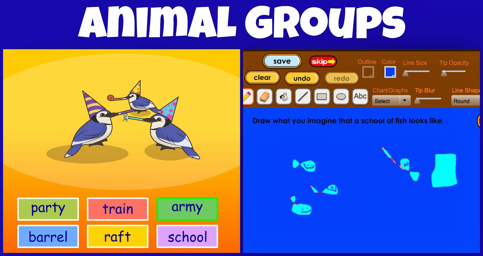 animal groups  party of blue jays school of fish