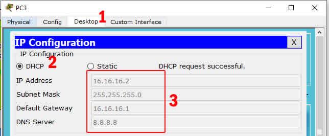mendapatkan IP DHCP dari Switch