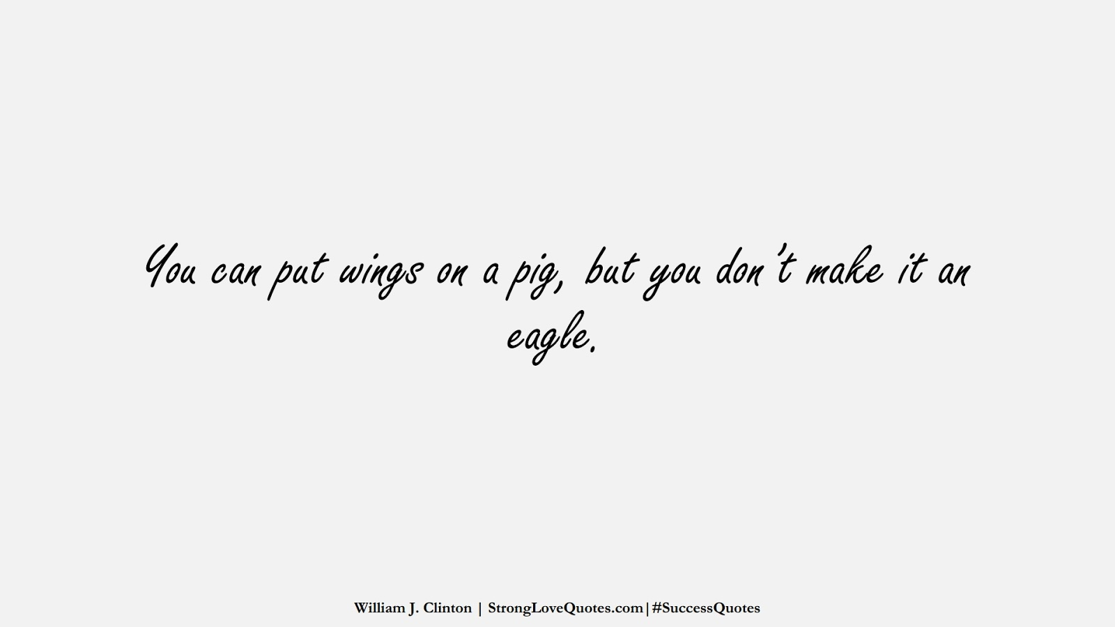 You can put wings on a pig, but you don't make it an eagle. (William J. Clinton);  #SuccessQuotes