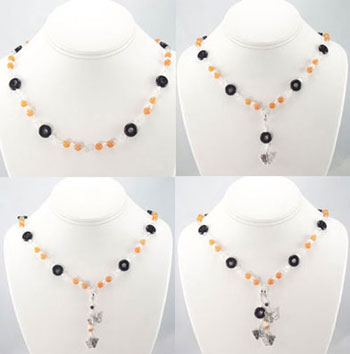 Aventurine Onyx Gemstone Crystal Butterfly Charm Necklace (N046) -Shown in all four styles