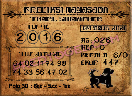 Pred Nagasaon SGP Rabu 04-Agustus 2021