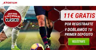 sportium llevate 11€ gratis y doblan tu primer deposito el clasico hasta 3-3-2019