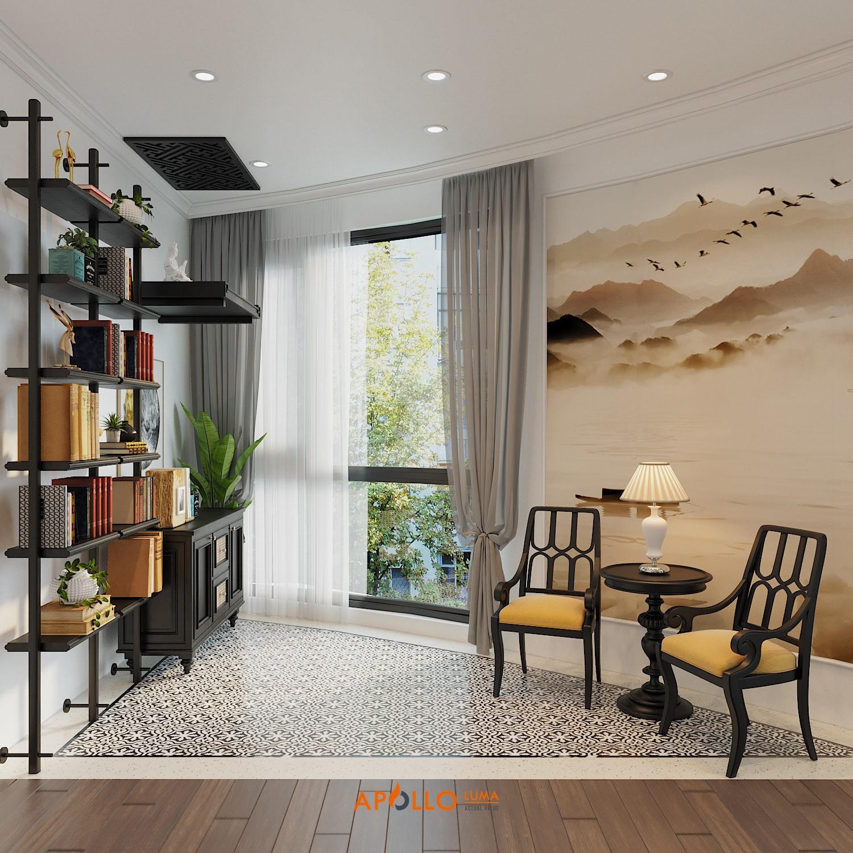 Thiết kế phòng khách phong cách Đông Dương căn hộ Royal City