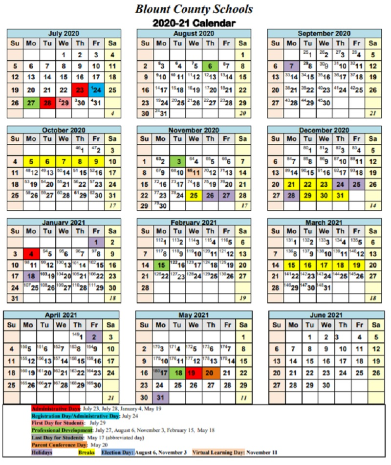 Blount County Schools Calendar