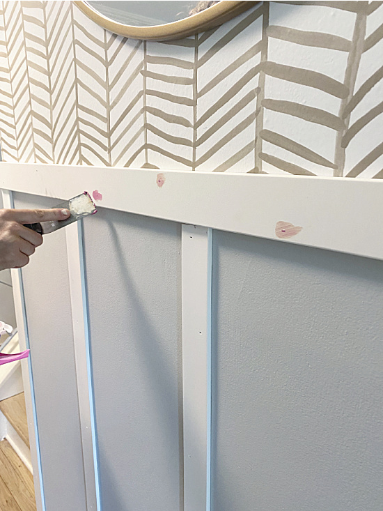 filling the holes in the pvc moulding