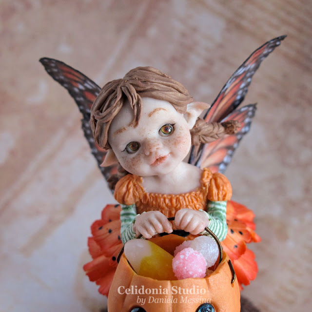 Halloween Fairy - Trick or treat? - Polymer Clay OOAK Art doll