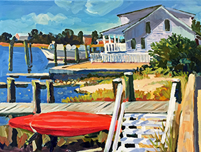Stephen Moore NC artist Red Kayak