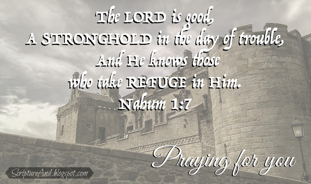 Praying For You with fortress and Nahum 1:7 from ScriptureAnd.blogspot.com