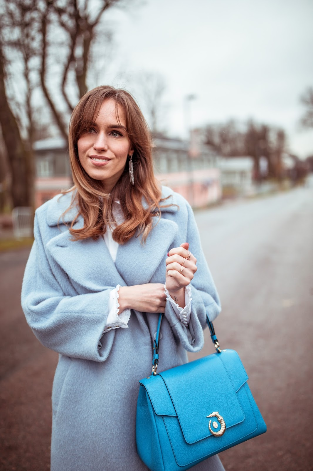 trussardi blue lovy bag outfit fall