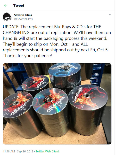Severin anounces the shipping of replacement discs for THE CHANGELING! YAY!