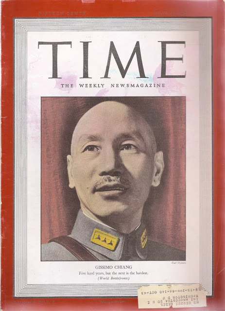 Time magazine, with Chiang Kai-shek on the cover, 1 June 1942 worldwartwo.filminspector.com