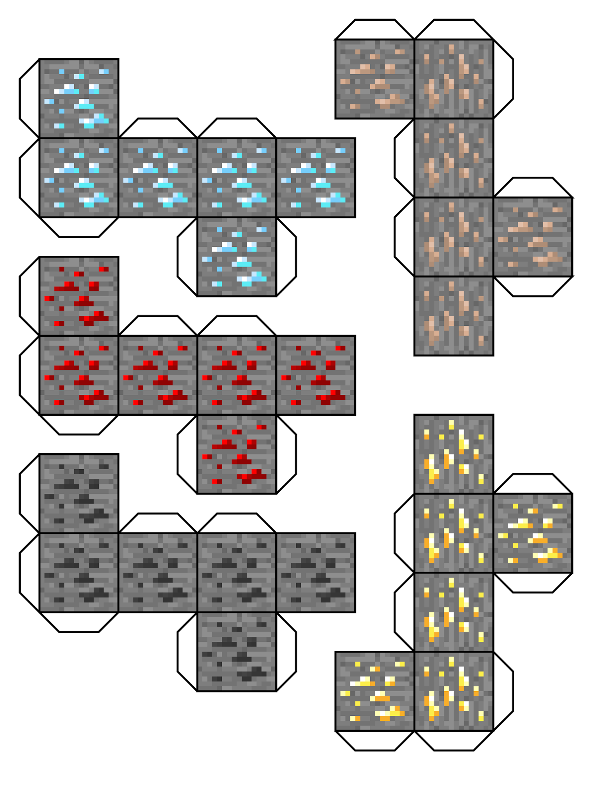Minecraft Diamond Ore Foldables Free Coloring Pages