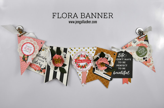 Floral Banner with Carta Bella Paper and Jen Gallacher from www.jengallacher.com. #banner #floralbanner #cartabellapaper