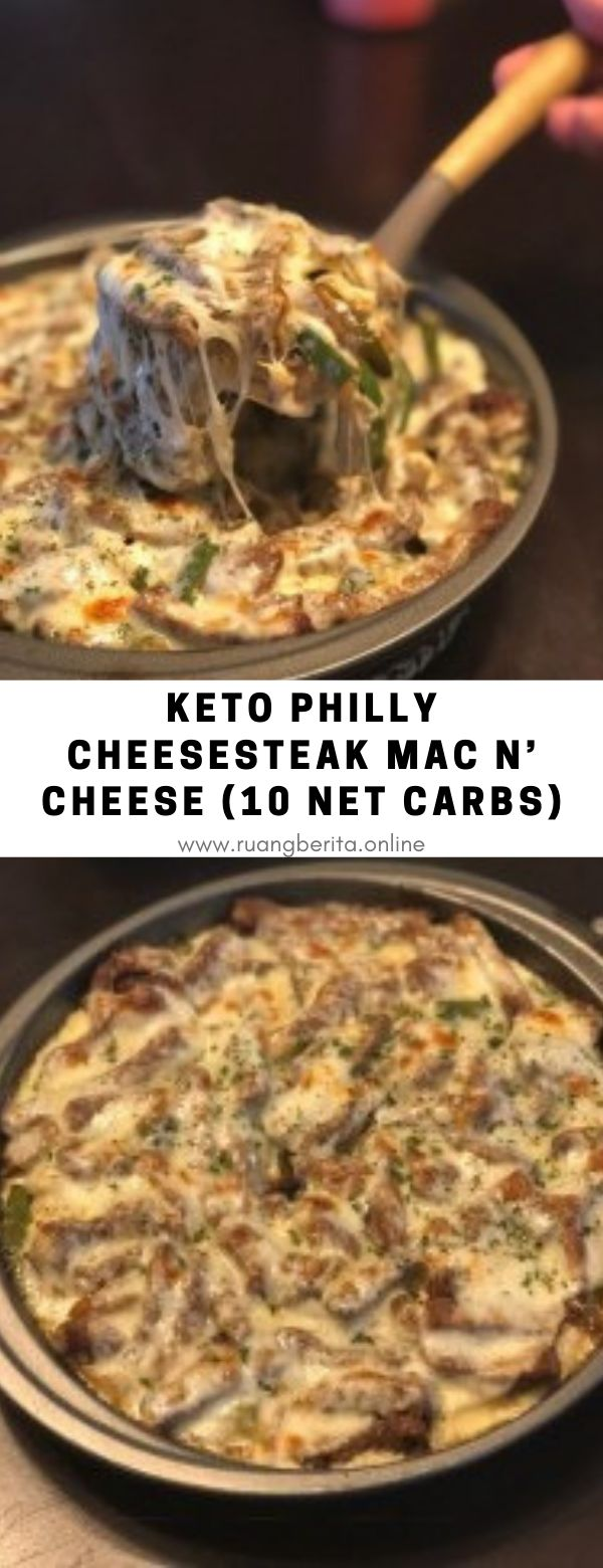 Keto Philly Cheesesteak Mac n' Cheese (10 Net Carbs) #dinner #maincourse #keto #pilly #cheesesteak #mac #cheese #10netcarb #lowcarb