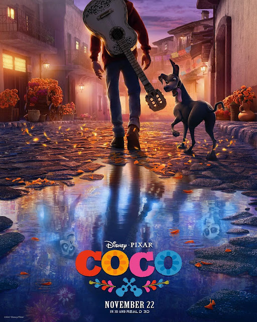 Pixar Coco Poster shows Miguel walking down a street with water reflecting his ancestors