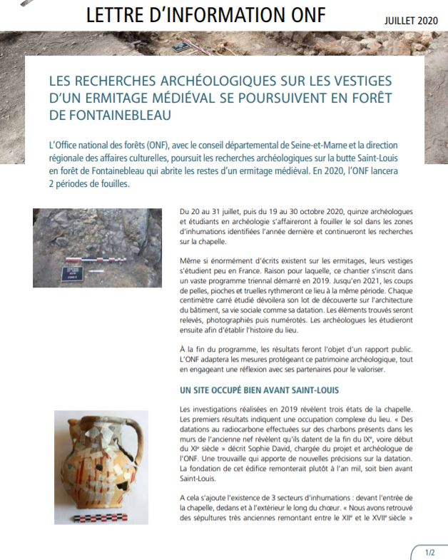 note de communication onf chantier de fouilles fontainebleau 2020