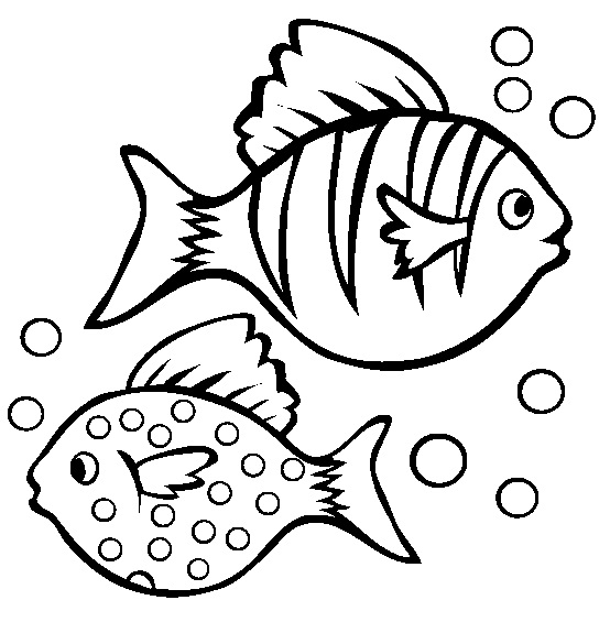 Dua Ikan Berenang Mahir Mewarnai Gambar