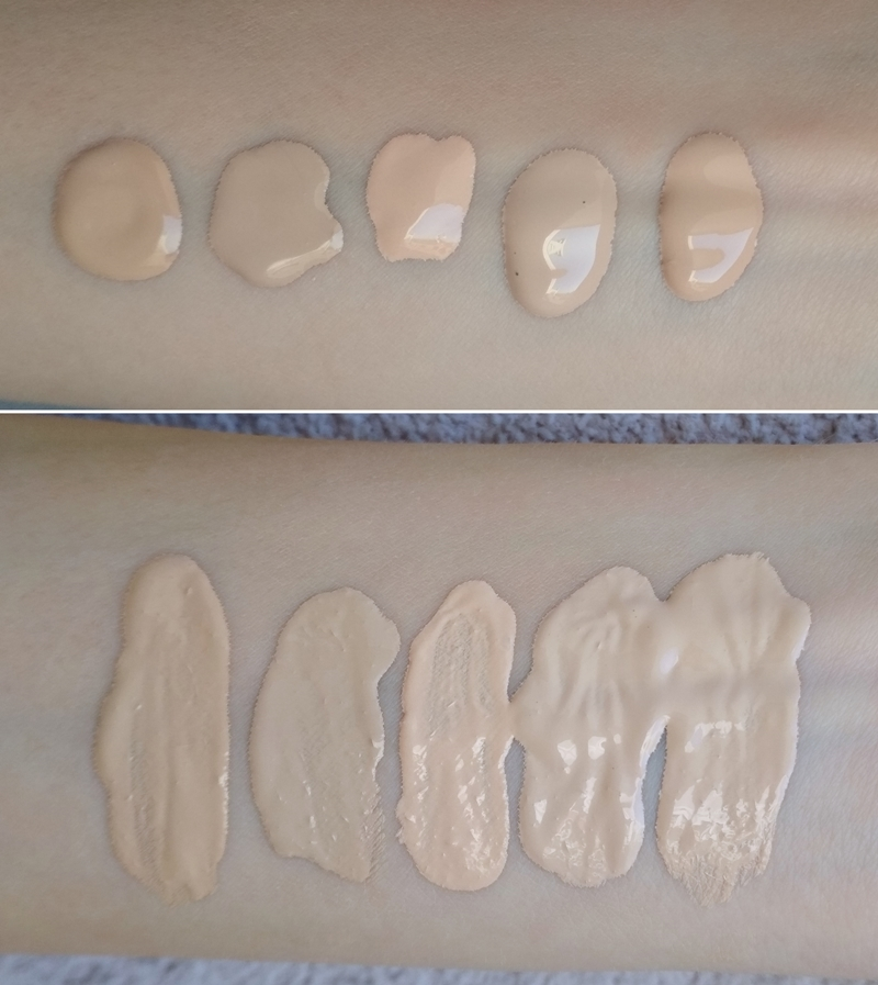 Kobo Camouflage 801, Bourjois Healthy Mix 51, Revlon Colorstay 150, Wet'n'Wild Soft Ivory, MAC Studio Fix NC10