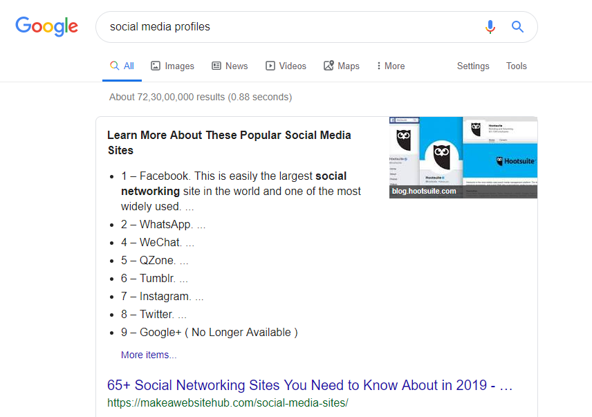Number list featured snippet