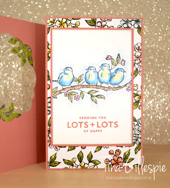 scissorspapercard, Stampin' Up!, Art With Heart, Colour Creations, Bird Ballad Bundle, Stitched Labels, Stitched Rectangles, Lots Of Happy, Tri Fold Card