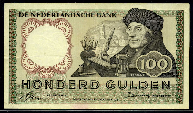Netherlands currency Dutch guilder banknotes 100 Gulden banknote Erasmus