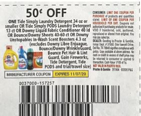 "USE $0.50/1 Tide Simply or Downy Coupon from ""RetailMeNot"" insert week of 10/3/20."