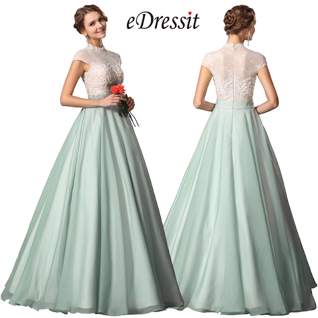 eDressit Green Chiffon High Neck A Line Prom Gown Dress