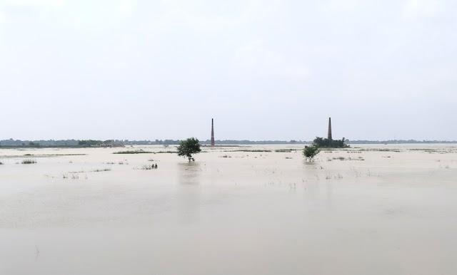 बेनीपट्टी में बाढ़ के पानी से माधोपुर का संपर्क भंग