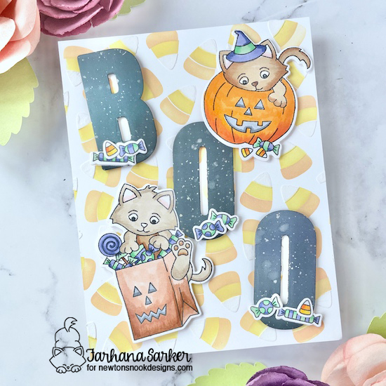 Halloween Kittens and Candy Corn Card by Farhana Sarker   Trick or Treat Kittens Stamp Set and Candy Corn Stencil Set by Newton's Nook Designs #newtonsnook