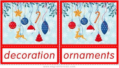 decoration and ornaments, Christmas flashcards free download
