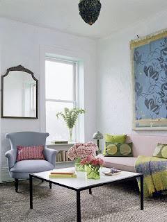 sala en colores pastel
