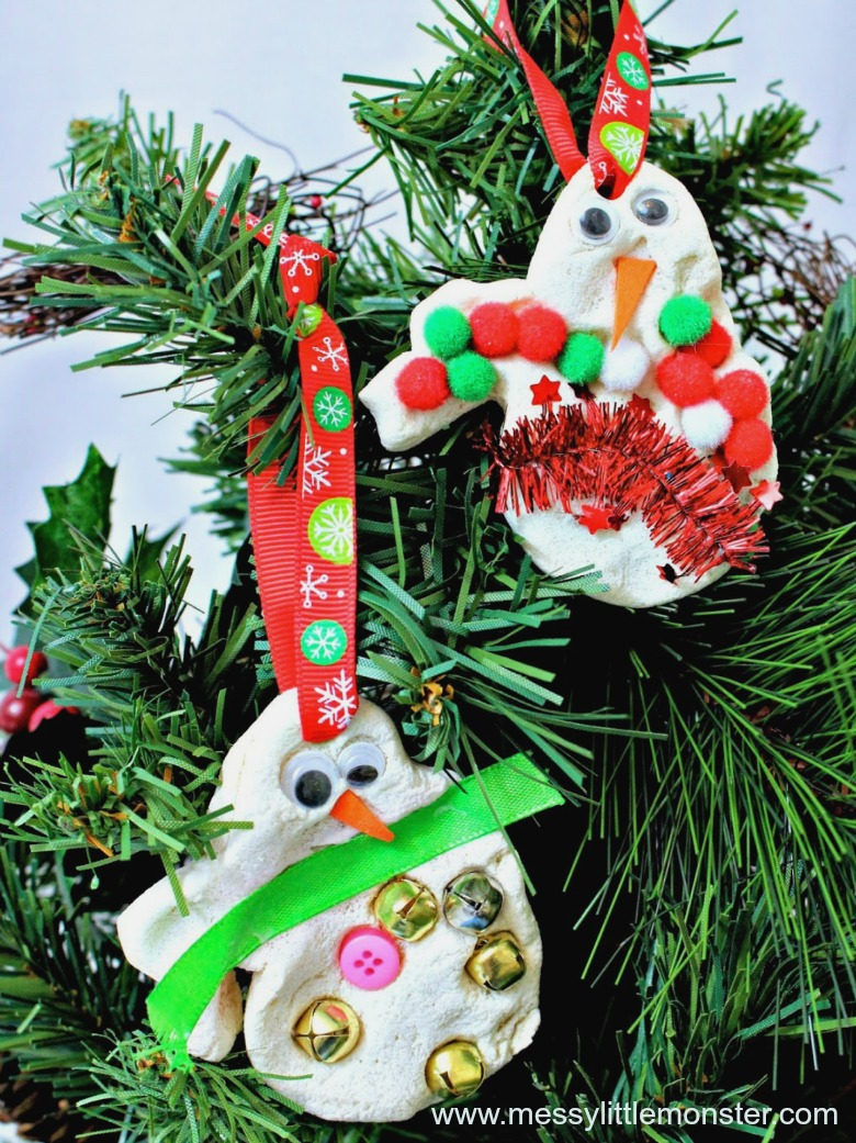 salt dough ornaments - snowman salt dough ornament - snowman craft