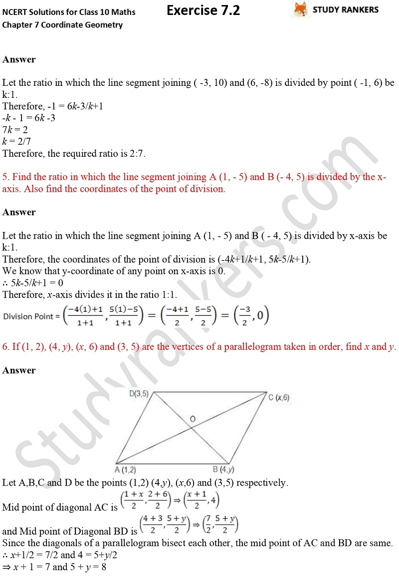 NCERT Solutions for Class 10 Maths Chapter 7 Coordinate Geometry Exercise 7.2 Part 3