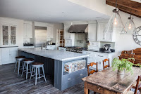 Timeless kitchen ideas with vintage dining area and black countertop also with white granite countertops kitchen island