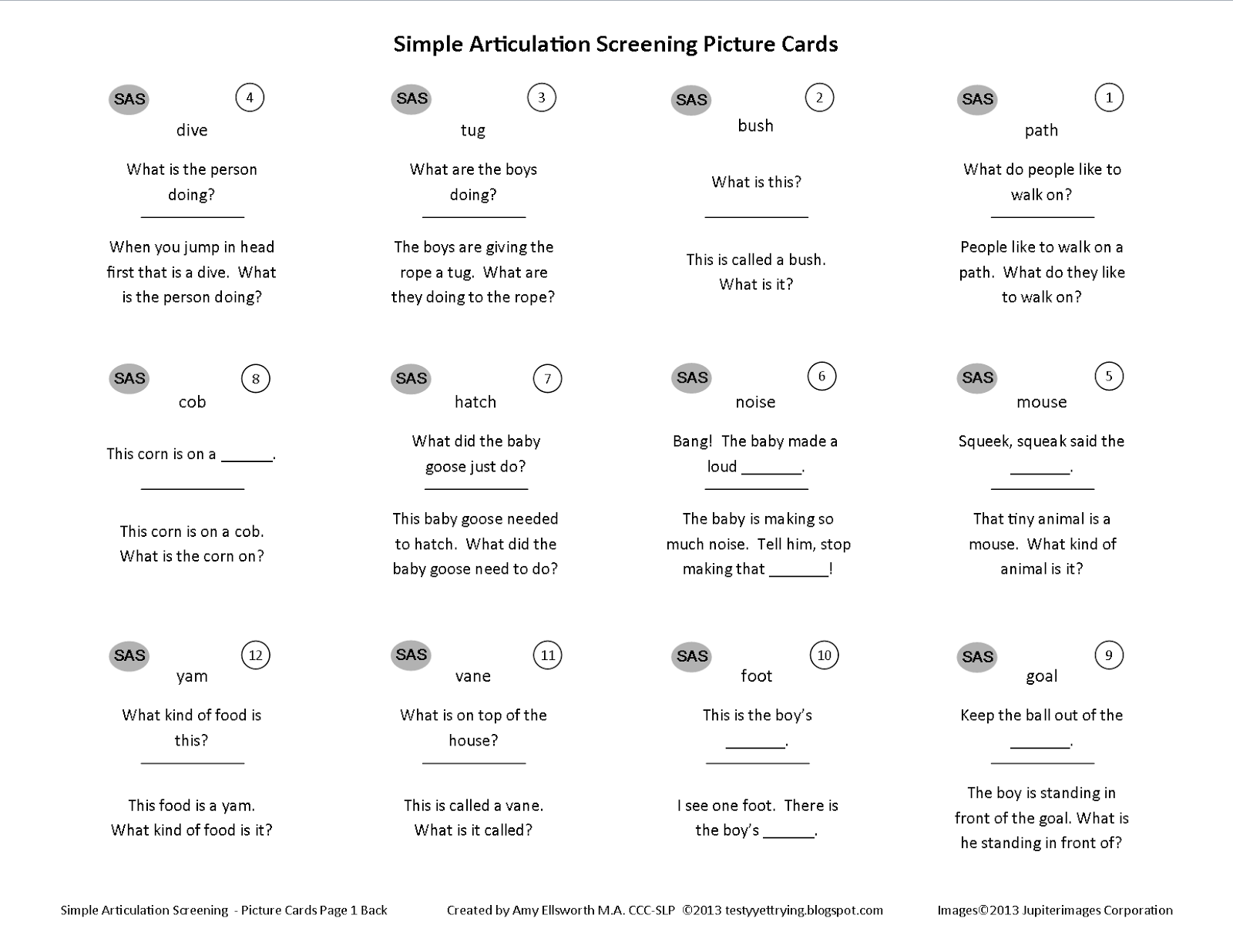 Testy Yet Trying Free Simple Articulation Screening Tool