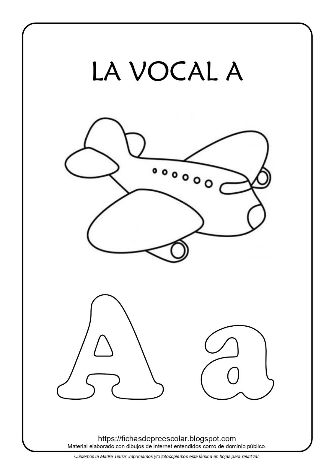 Fichas De Educación Preescolar Láminas Con Las Vocales