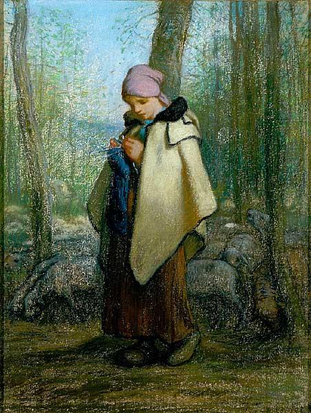 Жан Франсуа Милле - Пастушка за вязаньем. 1857