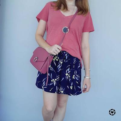 awayfromtheblue Instagram   pink cotton on tee kmart printed navy culotte short rebecca minkoff jean mac