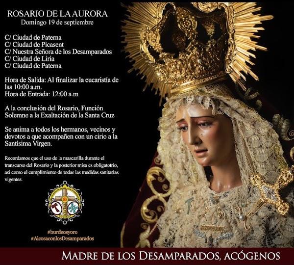Horario e Itinerario Rosario de la aurora Desamparados de Alcosa. Sevilla 19 de Septiembre del 2021